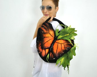 Handbag with butterfly/ Nuno felting / Felted bag / Handmade bag / Wool felted bag / Orange butterfly / !!! FREE SHIPPING !!!