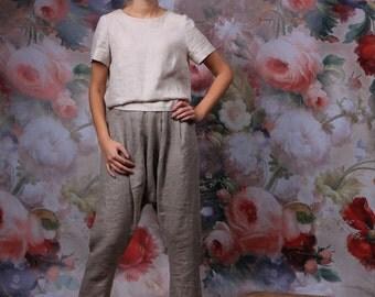 LINEN pants, Women trousers, Linen harem pants, Yoga pants, Leisure trousers