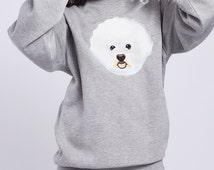 BICHON FRISE | Grey sweatshirt with embroidered Bichon frise dog | Bichon frise gift