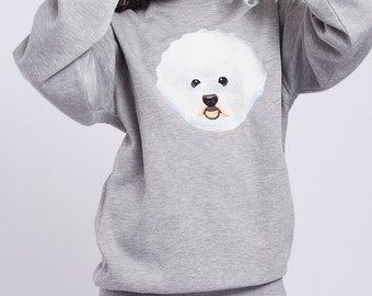 40 % OFF | BICHON FRISE | Grey sweatshirt with embroidered Bichon frise dog | Bichon frise gift