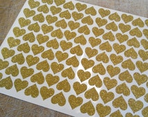 glitter heart envelope seals, Gold glitter heart sticker, glitter wall decals,  love stickers, paper label, letter seal, adhesive seal