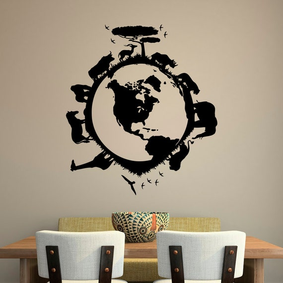 safari wall decal vinyl stickers african safari jungle wild. Black Bedroom Furniture Sets. Home Design Ideas