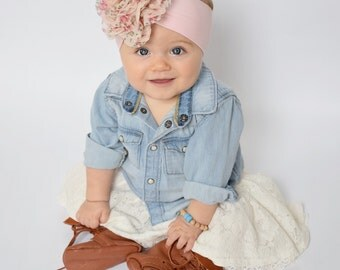 baby headwrap, floral pink shabby chic boho toddler kid spring easter soft stretchy headband newborn rose flowers birthday gift present cute
