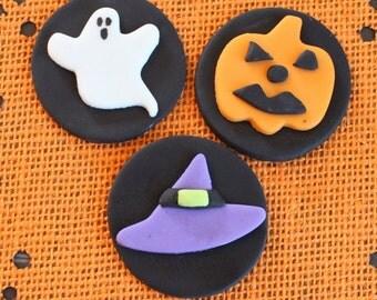 12 fondant halloween cupcake toppers-halloween ghosts,witch hat, pumpkin cupcake tops, halloween decorations, halloween party supplies