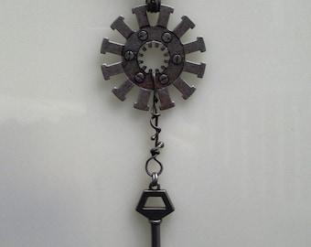 Silver steampunk industrial chain necklace gun metal key found object handmade jewelry
