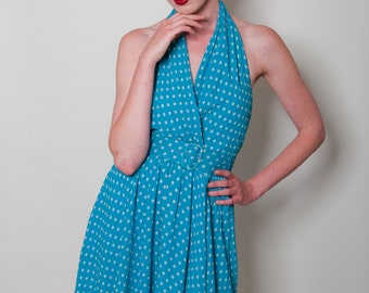 Vintage silk polka dot halter dress