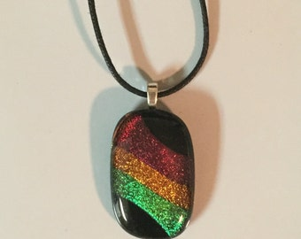 "Dichroic ""Jammin'"" fused glass & 925 sterling silver pendant on cotton necklace or silver chain"