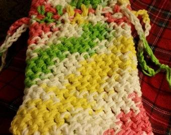 Handmade crochet multi colored Soap bag