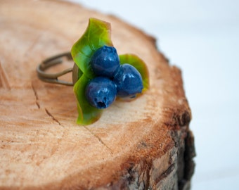 Blueberry jewelry Unique rings for her Forest flowers Forest jewelry Elven jewelry Fashion rings Boho rings Rustic jewelry Natural jewelry