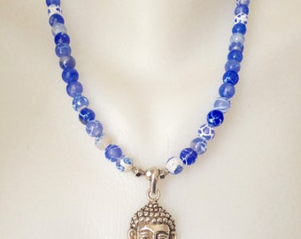 Buddha Pendant necklace, Sterling Silver Necklace,  Elegant Necklace, Blue necklace,