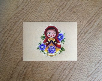 Pretty Russian Doll Wall Art Print of Hand Drawn Design // Home Decor // Matryoshka Doll // Gift Idea // Gift for Female