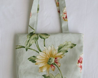 Small Tote/ Hostess Gift Bag- Robins Egg Blue Floral