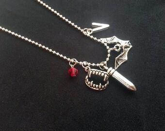 Vampire Necklace, Gothic Jewelry, Halloween Fantasy neckalce