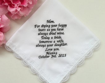 Wedding Handkerchief For Mom/Wedding Gift For Mother Of Bride/Embroidered Handkerchief For Mum/Personalized Embroidery Custom Words Hankie