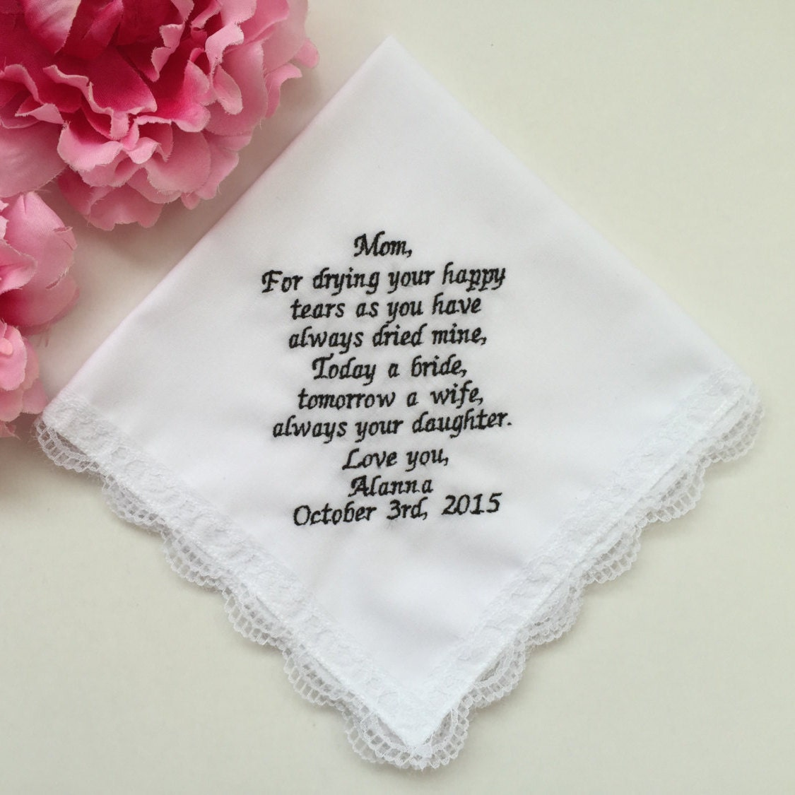Wedding Gift For Bride From Mom : Wedding Handkerchief For Mom/Wedding Gift For Mother Of