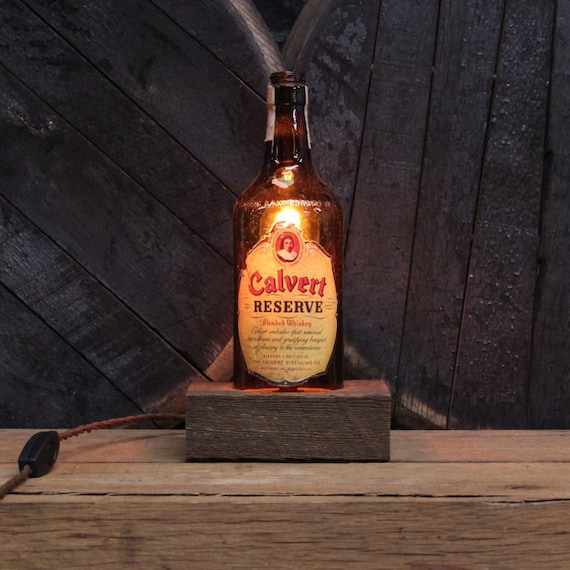 Handmade Recycled Antique Calvert Reserve Liquor Bottle Desk Lamp-Features Reclaimed Wood Base, Twisted Cloth Wire, In line Switch, And Plug