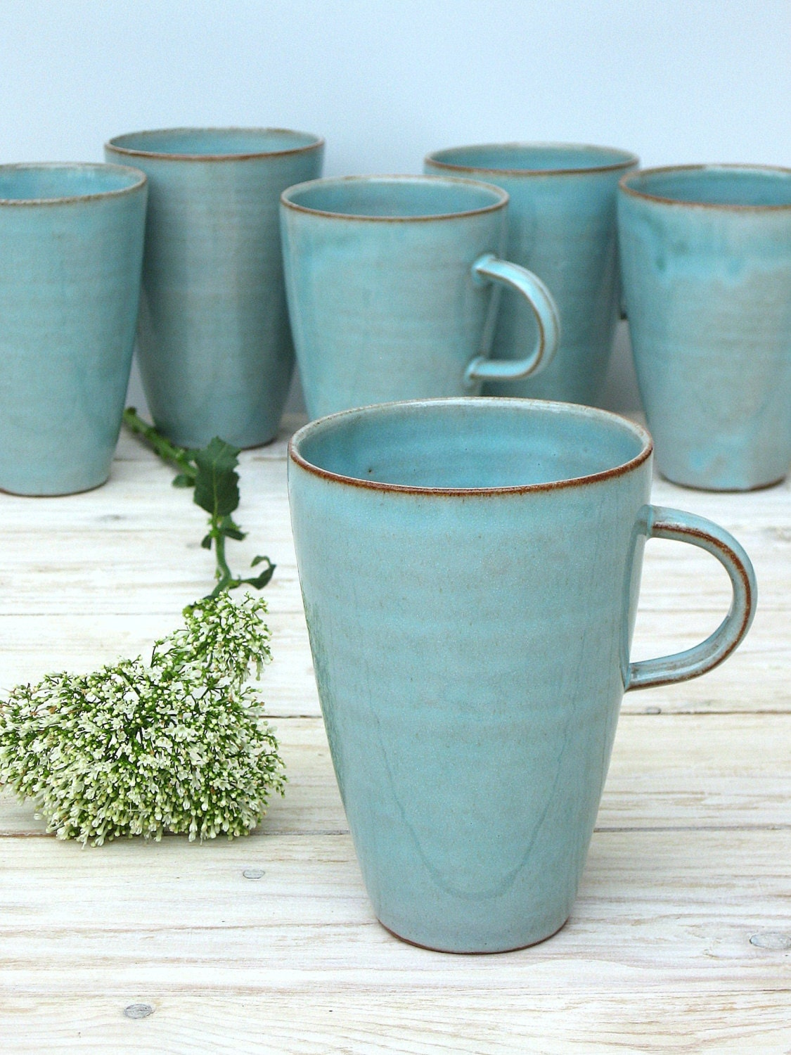 Turquoise Coffee Mug Large Coffee Mug Tall Coffee Mug Large