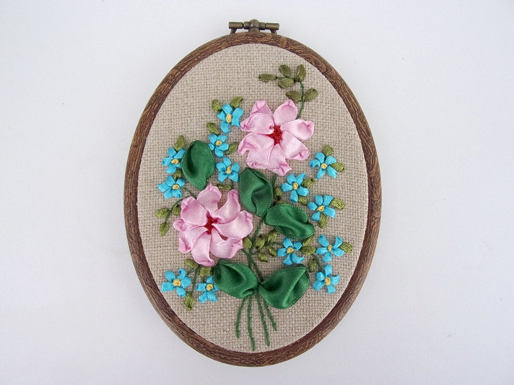 Hand Ribbon Embroidery Wall Hanging, Ribbon Embroidery Hoop Art ...