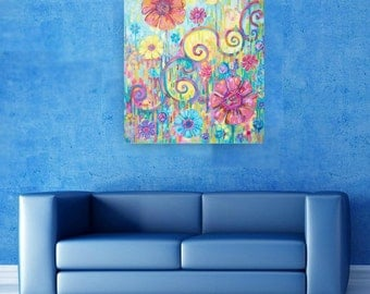 Original colourful acrylic painting on canvas, abstract flower painting, 20x24 inches, 50x60 cm, impressionist style abstract floral art