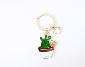 Cactus Enamel Keychain   Succulent   Keychain   Key Finder