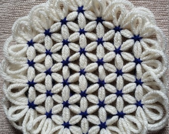 Decorative Coasters in Blue/Ivory Sold as Set or Individually -- Color Customization Available