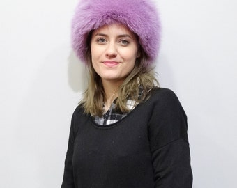 Purple fluffy fox hat F418