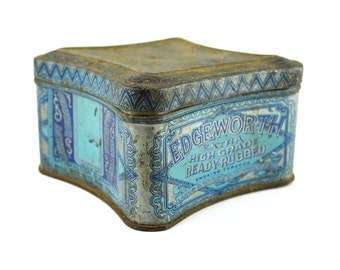 Edgeworth Tin ~ Blue Tobacco Tin ~ Larus & Bro Tin ~ 1930s Collectible Tin ~ Display or for Succulent Planter