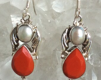Coral and Pearl Earrings with Sterling Angel Wings | Coral Jewelry
