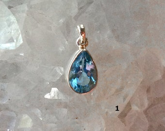 Blue Topaz Sterling Silver Pendant | Last One This Style