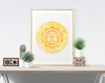 Solar Plexus Chakra Art Wall Decor Printable Chakra Art Manipura Art Wall Art Printable Art Poster Meditation Room Art Yoga Studio Art