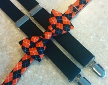 Halloween Suspender and Bowtie Set, Black and Orange Bowtie, Halloween Bowtie, Boys Black Suspenders