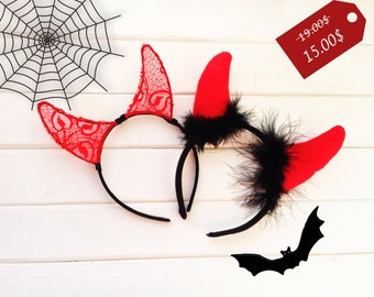 Devil horns, Halloween Costume, Halloween ears, Devil Horn Headband, Costume ears, Red Ears,  Ears Headband, Party Ears, Cosplay Ears