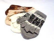 SUMMER SALE 12% OFF* Alpaca wool Gloves, Convertible Mittens, Fingerless Gloves, Light and Warm in Natural Colors with Ethnic Andean Designs