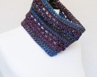 Blue, Purple Crochet Cowl, Short Infinity Scarf, Lacy Neck Warmer