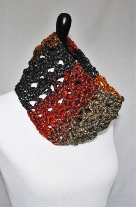 Brown, Red, Taupe, Black, Gold Crochet Cowl, Neck Warmer, Infinity Scarf -  Lightweight, Lacy, Open Cowl