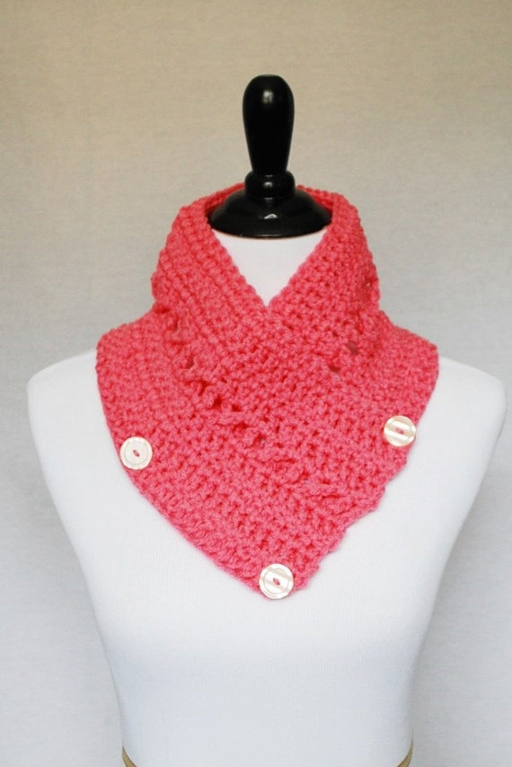 SALE! Pink Button Cowl, Crochet Wrap Scarf, Neck Warmer, Button Infinity Scarf, Lacy Crochet Cowl, Crochet Collar Scarf - Bright Pink