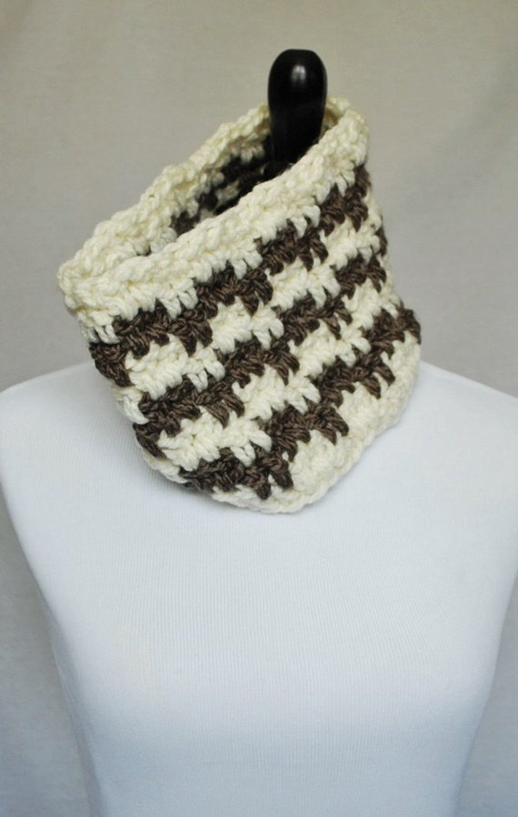 Taupe Brown and Cream Striped Cowl, Neck Warmer, Infinity Scarf - Crochet, Zig Zag, Tan, Beige, Neutral