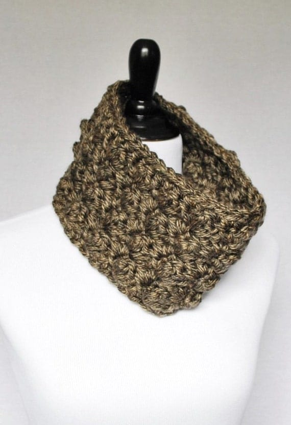 Brown Crochet Cowl, Taupe Neck Warmer, Short Infinity Scarf, Textured Cowl -  Sedge Stitch, Neutral