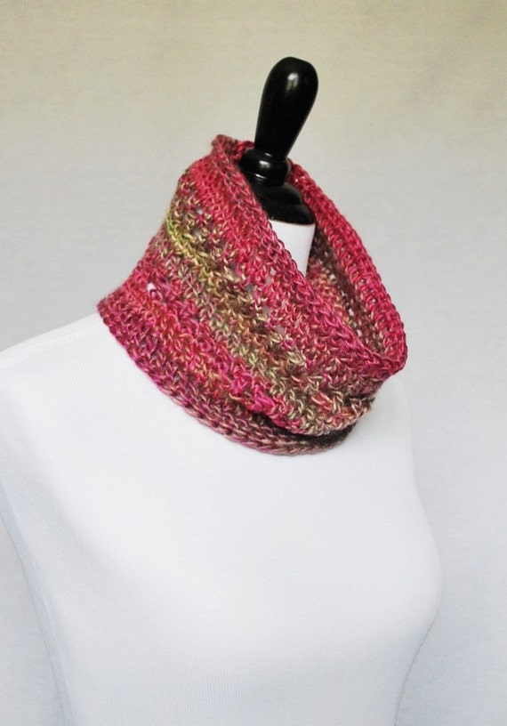 Pink Crochet Cowl, Short Infinity Scarf, Lacy Neck Warmer - Pink and Taupe