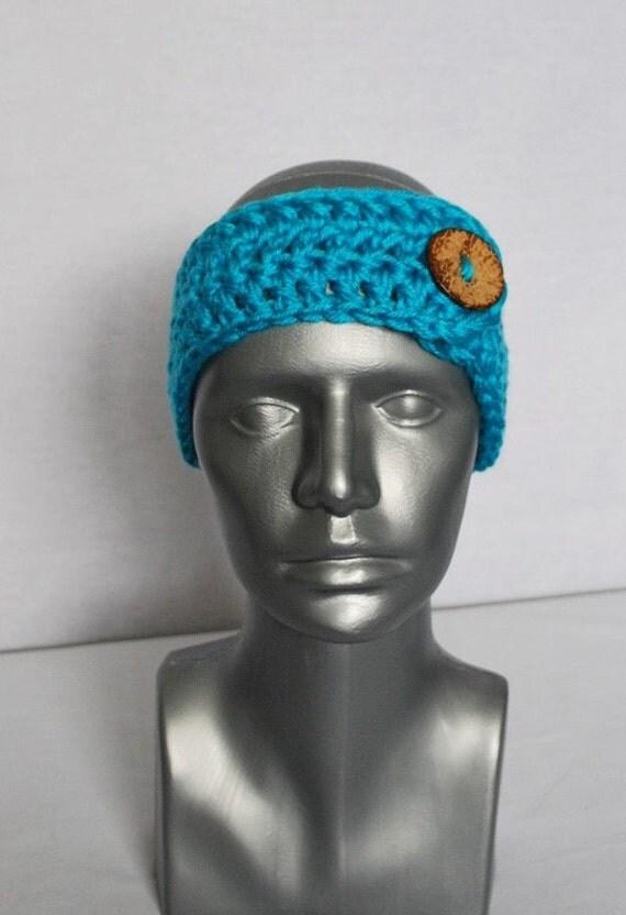 Aqua Blue Crochet Button Ear Warmer, Turquoise Blue Head Wrap, Aqua Blue Winter Headband