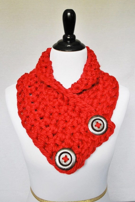 Red Crochet Button Scarf, Chunky Button Cowl, Crochet Neck Warmer, Wrap Scarf - Cherry, Scarlet