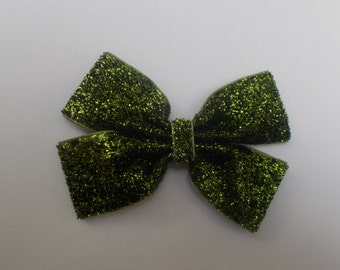 Lime Green Glitter Hairbow