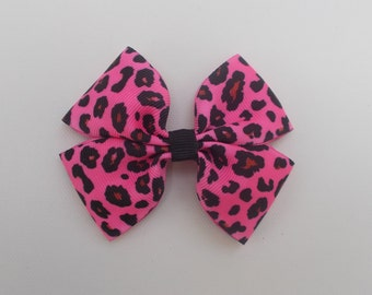 Pink Leopard print Hairbow