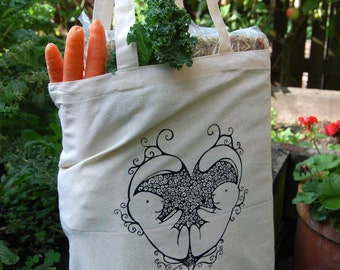 Bunny rabbit cotton tote bag, 5oz - 420 x 380mm, bunny shopping bag, swirly bunny heart illustration