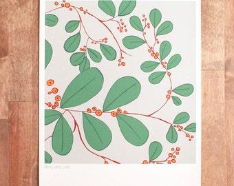 "Handmade Art Print, Berry and Leaf Fine Art Print, Floral and Berry Pattern print, ""Berry and Leaf"""