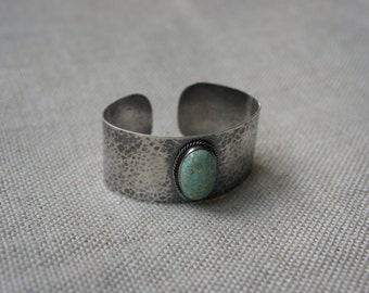 Turquoise & Hammered Silver Cuff Bracelet     *m