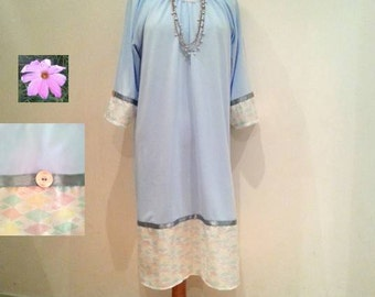 Baby blue tunic dress sale, mint pink yellow white dress, long sleeves, 70s 60s retro style, womans blue dress, womens dresses, blue dresses
