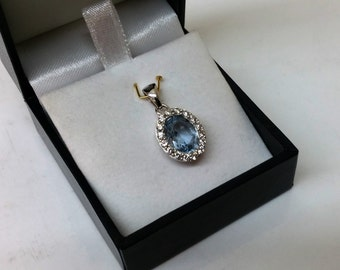 Charm 925 Silver Blue/clear Crystal stones SK698