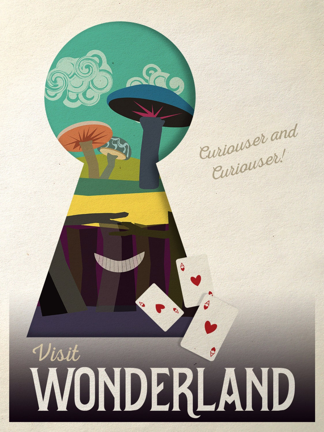 Alice In Wonderland Poster Retro Travel Poster Girl Room