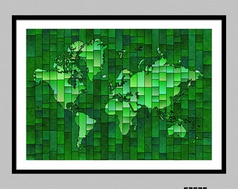 World Map Glasa - a map of the world wall art print by elevencorners - wall decor - travel print - map art poster - several color options